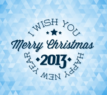 Vector vintage retro christmas label on blue background Vector
