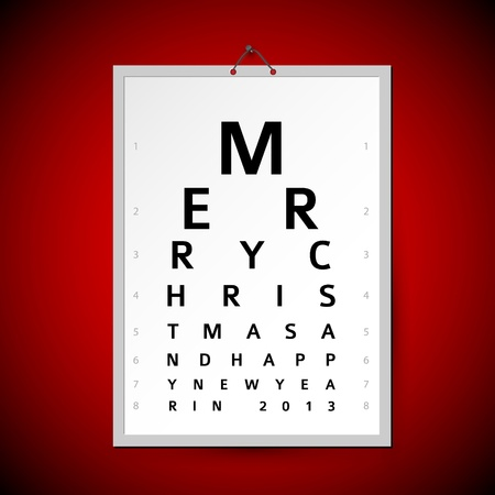eye exam: Vector Christmas eye test chart as original christmas card