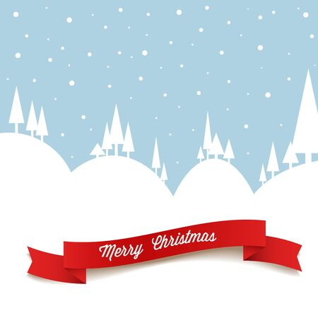 Vector retro snowy landscape as a Christmas card Vector