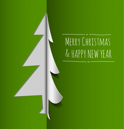 Vector Merry Christmas card with a white tree made from paper  Vector