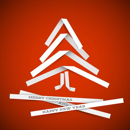 Simple vector christmas tree made from white paper stripes - original new year card Stock Vector - 16493254