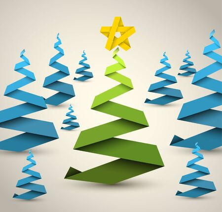 Simple  christmas trees made from paper stripe - original new year card Vector