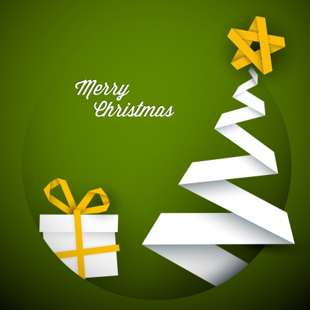 Simple  green christmas card with gift and tree made from paper stripe Vector