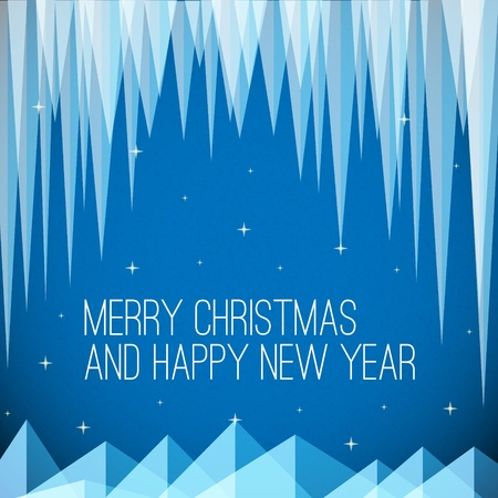 horizont: Retro night minimalistic Christmas card with icicles and snowy mountains