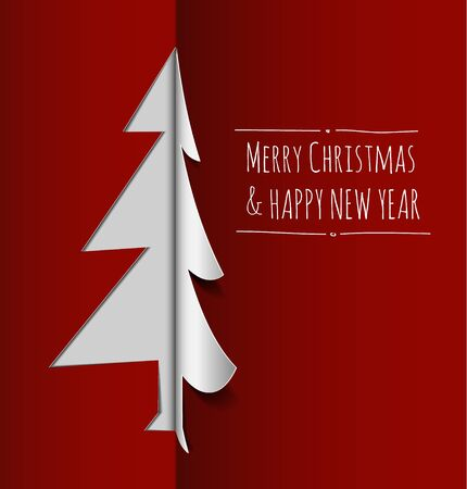 Merry Christmas card with a white tree made from paper Stock Vector - 16583645
