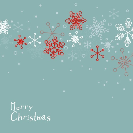 Retro simple Christmas card with white snowflakes on blue background Stock Vector - 16583651