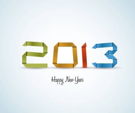 Paper Happy New Year 2013 card made from colorful paper stripes Stock Vector - 16757793
