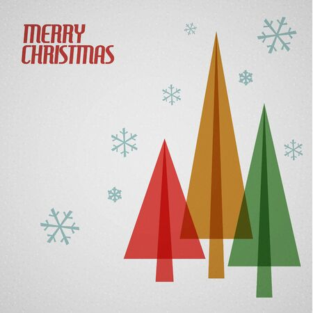 Retro Christmas card with christmas tress and snowflakes - teal, brown and red Vector