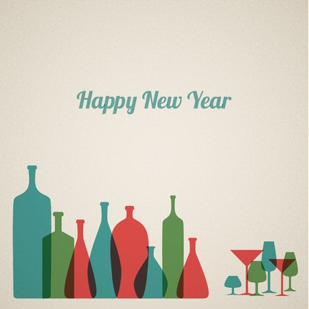 Retro New Year card with bottles and glasses Stock Vector - 16757837