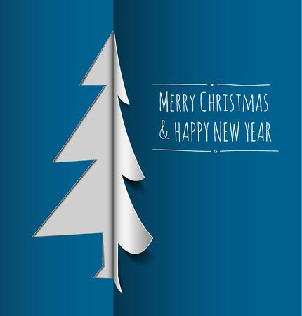 Merry Christmas card with a white tree made from paper  Vector