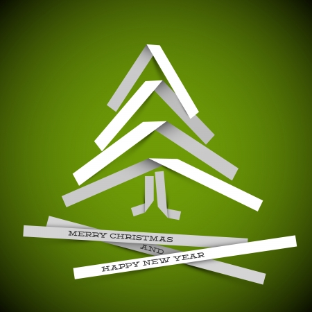 Simple christmas tree made from white paper stripes - original new year card Vector