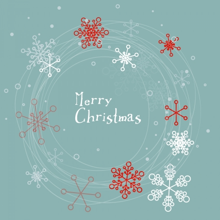 Retro simple Christmas card with white snowflakes on blue background Vector