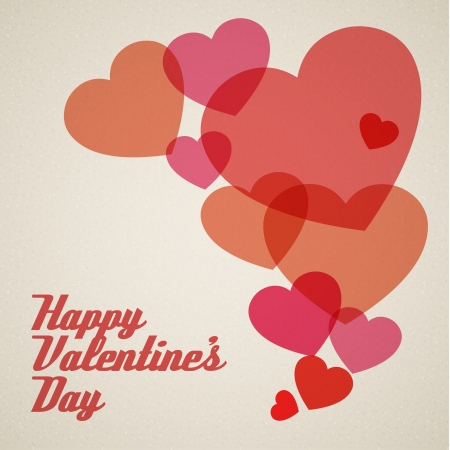 Happy Valentines card with hearts Vector