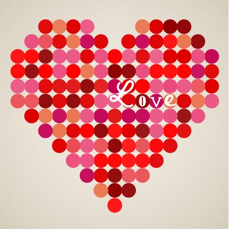 retro heart made from color circles Vector