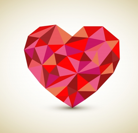 cubismo: coraz�n retro hecha de tri�ngulos de color