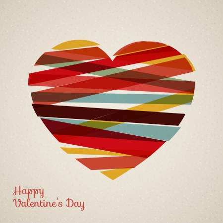 retro heart made from color stripes