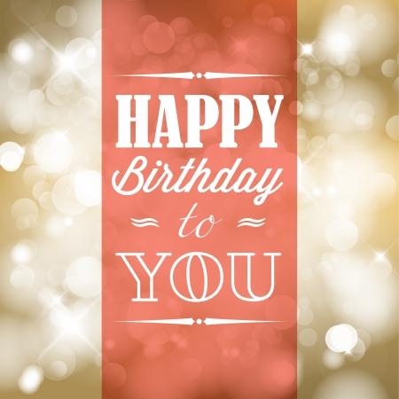 happiness: Feliz cumpleaños ilustración retro con luces de fondo