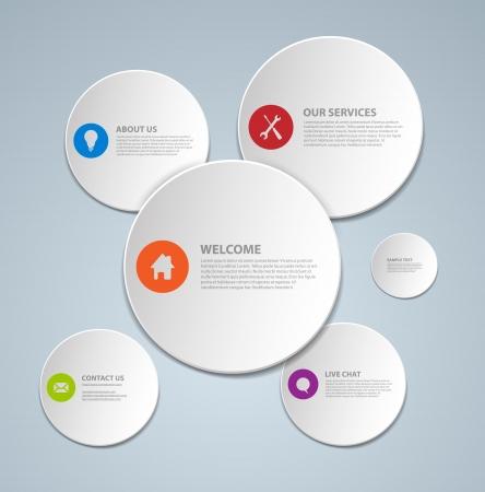 web service: Resumen plantilla de p�gina web hecha de c�rculos Vectores