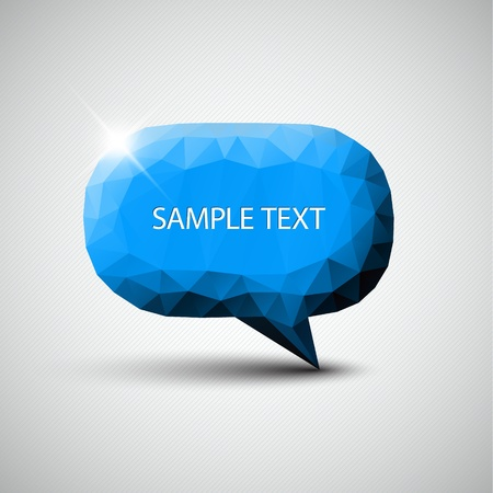 Vector abstract blue speech bubble with sample text Vector