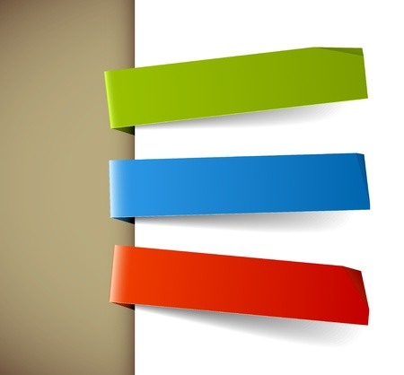 Set of three colorful paper tags - green, blue and red Vector