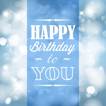 cute text box: Happy birthday retro vector illustration with blue lights in background