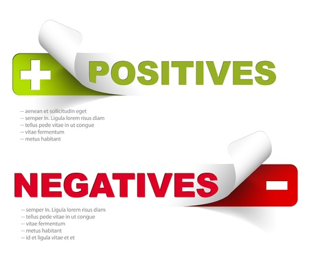 negatives: Vector template for positives and negatives Illustration