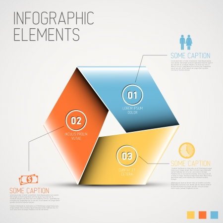 graphic illustration:  Abstract colorful shape with info graphic elements