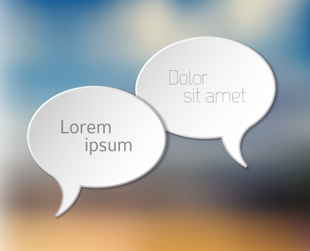 Simple white Vector Comic Speech bubbles on blurred background Vector