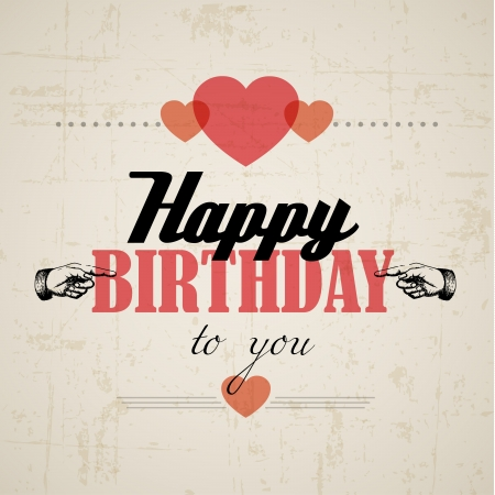 persona alegre: Feliz cumpleaños retro ilustración vectorial con corazones Vectores