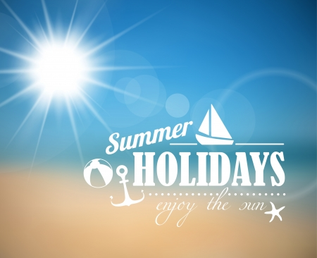 Vector abstract summer poster with beach background Vector