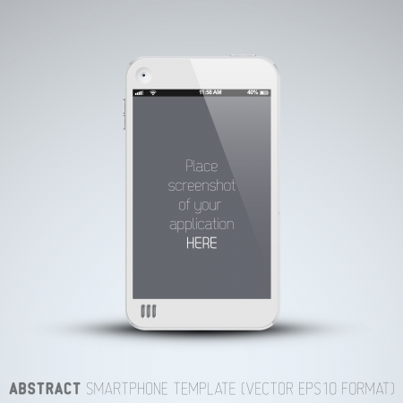 Abstract white mobile phone template with place for your application screenshot Vector