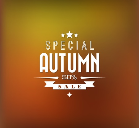 illustration promoting: Autumn sale retro poster with abstract blurred fall background Illustration