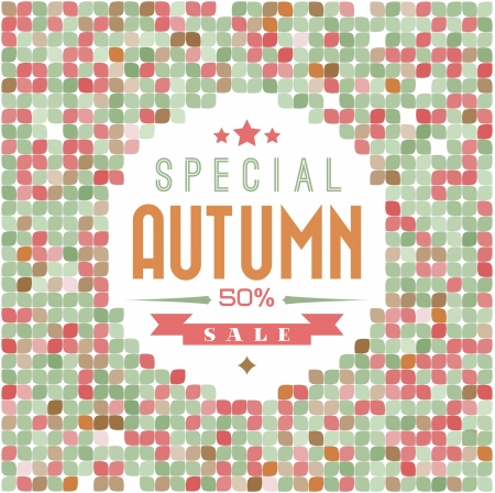 Retro colorfull leafs texture with sample text (autumn sale) Vector