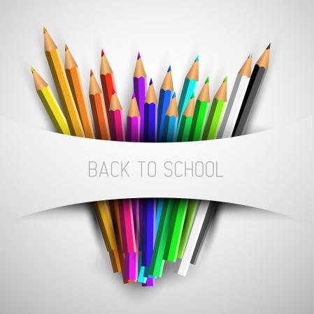 Retour à l'affiche d'école - crayons de couleurs sur papier blanc Vecteurs