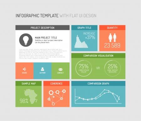 cuadrados: interfaz de usuario plana (UI)  plantilla de diseño infográfico