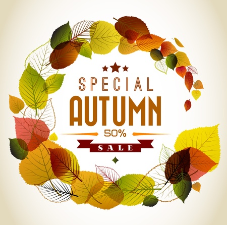autumn background: Autumn abstract floral background - circle from colorful leafs with sample text Illustration