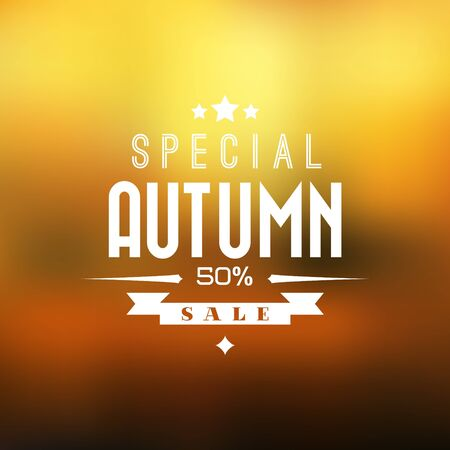 Autumn sale retro poster with abstract blurred fall background Vector