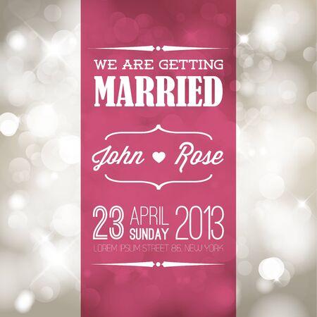 tarjeta de invitacion: retro invitación de la boda con las luces de la tipografía