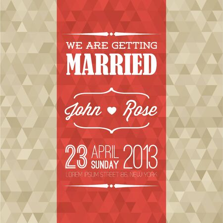 wed: retro Typography Wedding invitation with background made from golden triangles Illustration