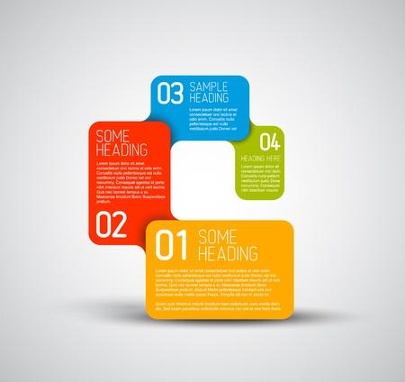 diagrama de procesos: Conjunto de pasos de colores  plantilla opciones