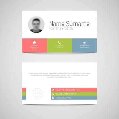 tarjeta: Plantilla de tarjeta de Modern luz simple negocio con interfaz de usuario plana Vectores