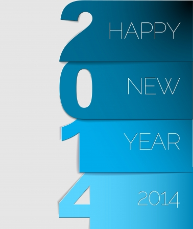 Happy New Year 2014 blue card  Vector