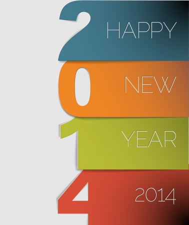 Happy New Year 2014 card (blue, orange, green and red) Vector