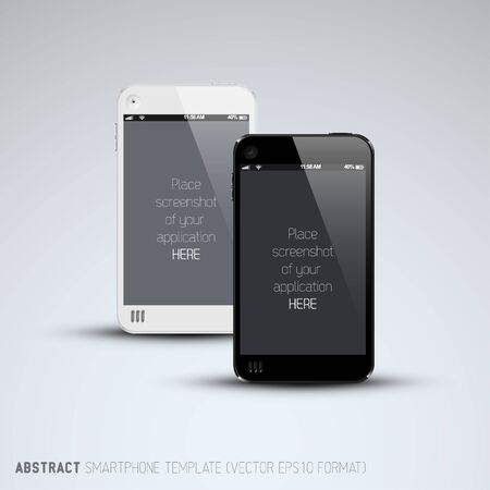 Abstract white and black smartphones template with place for your application screenshot Vector
