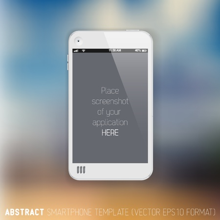 screenshot: Abstract white mobile phone template with place for your application screenshot on a blurred background Illustration