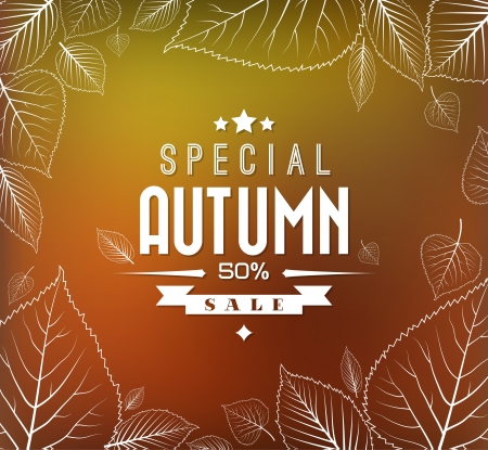 Autumn sale retro poster with abstract blurred fall background and white leafs