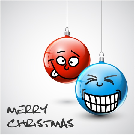 glimpse: Funny blue and red Christmas baubles with faces