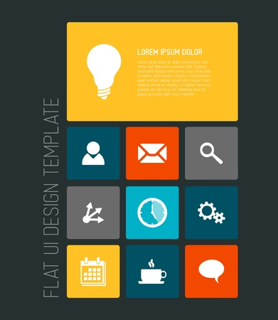 Modern smartphone flat user interface (UI) template Vector