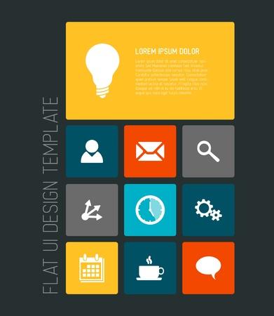 Modern smartphone flat user interface (UI) template
