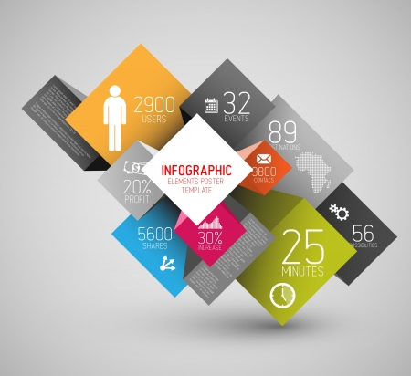 abstract squares and cubes background illustration / infographic template with place for your content Vector